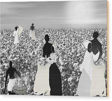 Slaves Picking Cotton Wood Print by Belinda Threeths