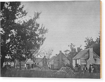 Slaves Sitting Near Their Cabins Wood Print by Everett