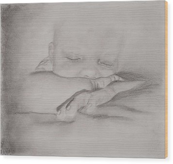 Sleeping Baby Wood Print by Michelle Wolff