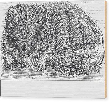 Sleepy Fox Wood Print by John A Fowler