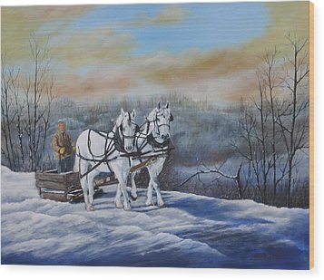 Sleigh Ride Wood Print by Sheila Banga