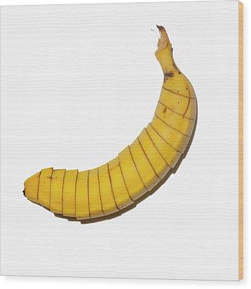 Sliced Banana On White Background Wood Print by Maciej Toporowicz, NYC