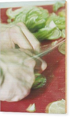 Sliced Limes Wood Print by Cristina Pedrazzini