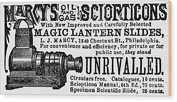 Slide Projector Ad, 1878 Wood Print by Granger