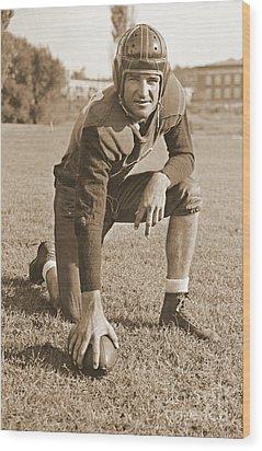 Slingin' Sammy Baugh 1937 Sepia Wood Print by Padre Art