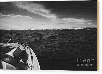 Small Boat Approaching Bangor From Belfast Lough County Down Northern Ireland Wood Print by Joe Fox