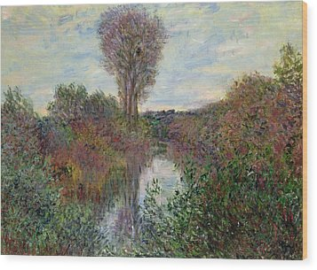 Small Branch Of The Seine Wood Print by Claude Monet
