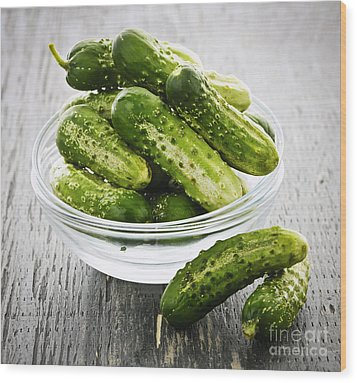 Small Cucumbers In Bowl Wood Print by Elena Elisseeva