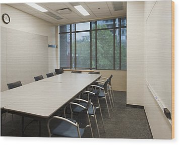 Small Empty Boardroom With A Long Wood Print by Marlene Ford