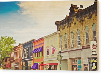 Small Town Colors Wood Print by Christina Klausen