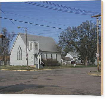 Small Town Religion Wood Print by Steve Sperry