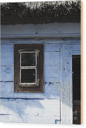 Wood Print featuring the photograph Small Window On Blue Wall by Agnieszka Kubica