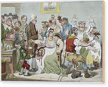 Smallpox Vaccination, Satirical Artwork Wood Print by
