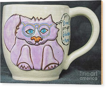 Smart Kitty Mug Wood Print by Joyce Jackson