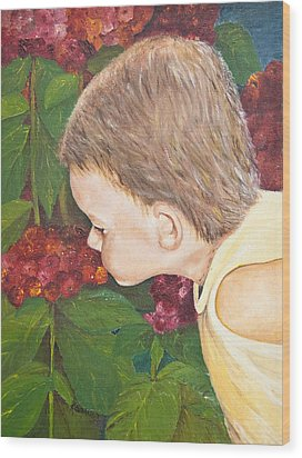 Smelling The Hydrangeas Wood Print