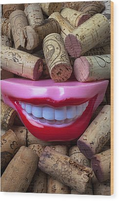 Smile Among Wine Corks Wood Print by Garry Gay