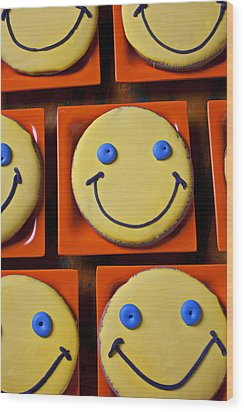 Smiley Face Cookies Wood Print by Garry Gay