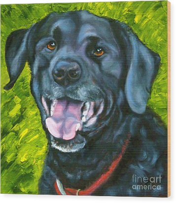 Smiling Lab Wood Print by Susan A Becker