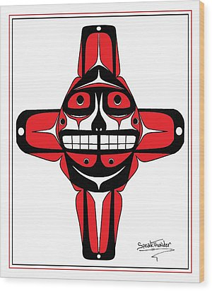Smiling Sun Red Wood Print by Speakthunder Berry