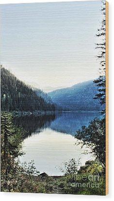 Smoke Behind Marshal Lake Wood Print by Janie Johnson