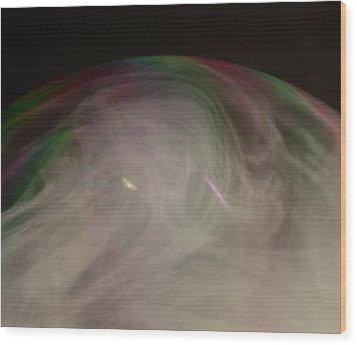 Smoke Bubble Wood Print by Cathie Douglas