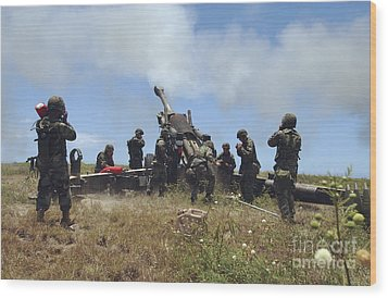 Smoke Fills The Air As Marines Fire Wood Print by Stocktrek Images