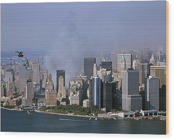 Smoke From The Ruins Of The World Trade Wood Print by Everett