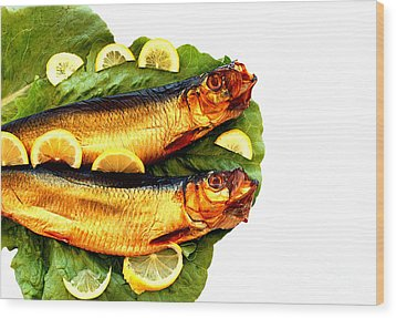 Smoked Fish Wood Print by Soultana Koleska