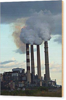 Smokestacks At Dusk Wood Print by Jo Sheehan