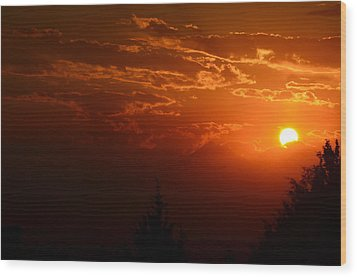 Smokey Sunset Wood Print