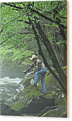 Smoky Mountain Angler Wood Print by Marty Koch