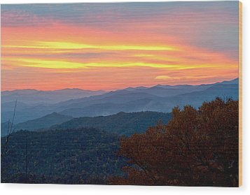 Smoky Mountains Burning Sunset Wood Print