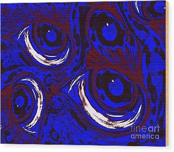 Smudge Eyes Wood Print by Tina Logan