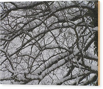 Snow Against A Grey Sky Wood Print