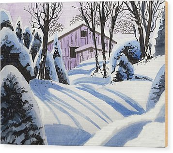 Wood Print featuring the painting Snow And Shadows by Terry Banderas