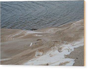 Snow At The Beach Wood Print