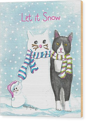 Snow Cats Wood Print by Terry Taylor