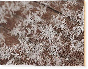Snow Close Up Wood Print