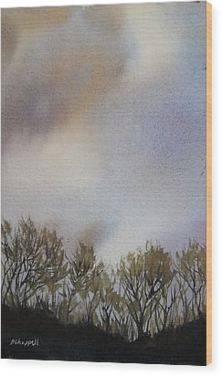 Snow Coming Wood Print by Becky Chappell
