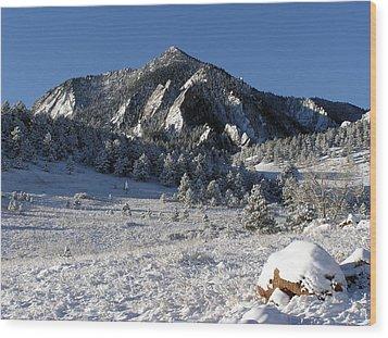 Snow Covered Bear Mountain Wood Print