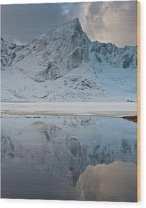 Snow Covered Mountain Reflected In Lake Wood Print by © Peter Boehi