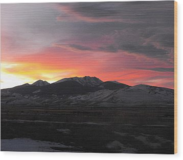 Snow Covered Mountain Sunset Wood Print