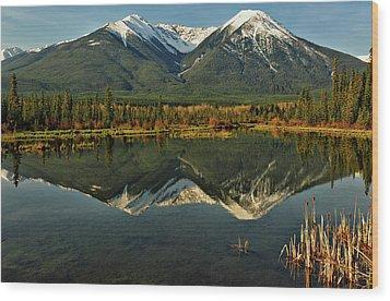 Snow Covered Peaks Of Canadian Rockies Wood Print by Jeff R Clow
