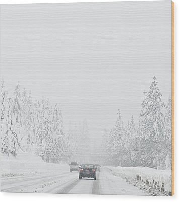 Snow-covered Rural Highway Wood Print by Dave & Les Jacobs