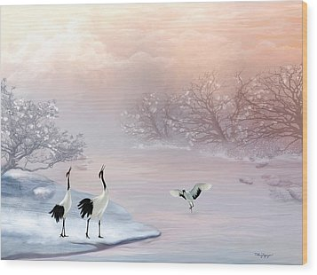 Snow Cranes Wood Print by Thanh Thuy Nguyen