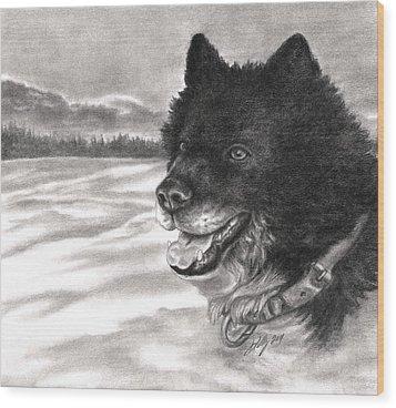 Snow Dog Wood Print by Kathleen Kelly Thompson