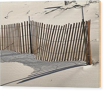Snow Fence Shadows Wood Print by Richard Gregurich