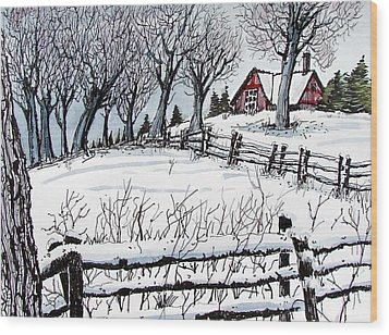 Wood Print featuring the painting Snow Field by Terry Banderas