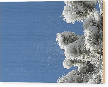 Snow Flakes Against A Blue Sky Wood Print
