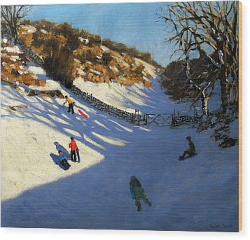 Snow In The Valley Wood Print by Andrew Macara